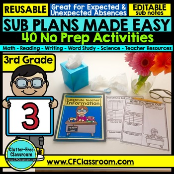 3rd Grade Substitute Plans Sub Plans Third Grade No Prep Tpt