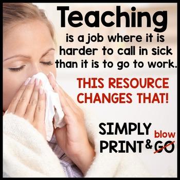 3rd grade Substitute Plans | Sub Plans THIRD GRADE | NO PREP