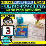 DISTANCE LEARNING PACKETS 3rd GRADE Emergency Sub Plans or At Home Learning