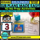 Emergency Sub Plans | Substitute Binder | 3rd Grade DIGITAL & PRINTABLE