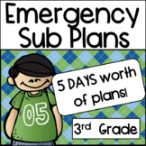 Substitute Plans for Third Grade:  5 Days Worth of Work!