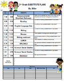 Substitute Plans template with class list, ways home, attendance, and Behavior