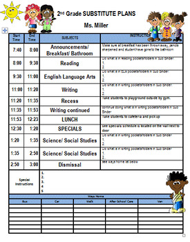 Substitute Plans Template With Class List Ways Home Attendance And