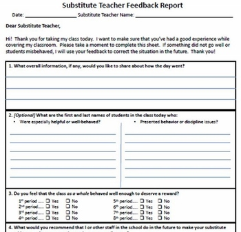 substitute teacher feedback report