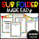 EDITABLE Substitute Folder Pages READY TO GO! SUB PLANS TEMPLATE