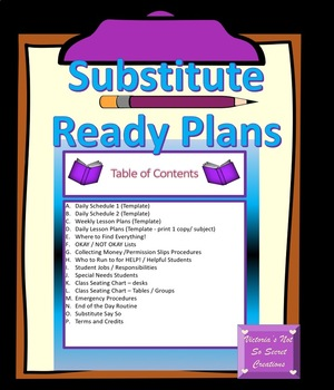 Substitute Ready Plans! Binder