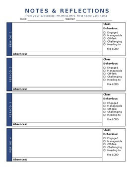 Substitute Reflection & Notes: Secondary