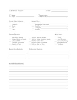 Substitute Report Form