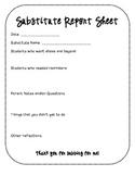 Substitute Report Sheet