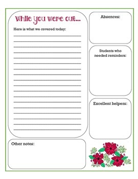 Substitute Report Sheet - Elementary