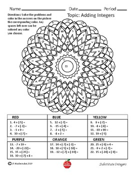 Substitute Saver: Adding Integers Coloring Worksheets