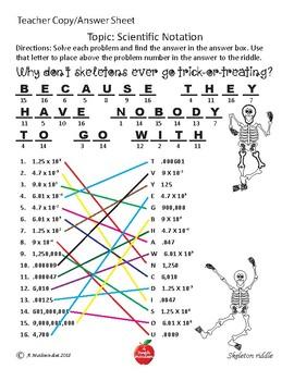 Substitute Saver: Scientific Notation Halloween Riddle TEKS 8.2c