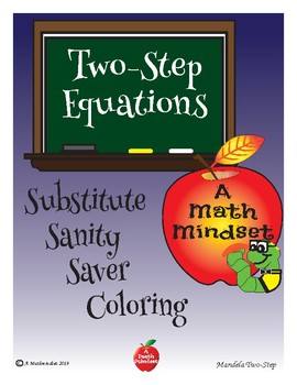 Substitute Saver:  Two-Step Equations Coloring Worksheet