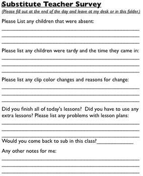 Substitute Survey
