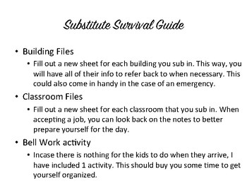 Substitute Survival Guide