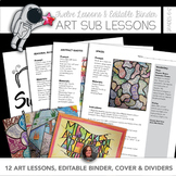12 Art Sub Lessons with Editable Sub Binder and Divider Pages