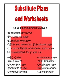 Substitute Survival Kit with Customizable Worksheets