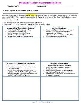 Substitute Teacher 4-Square Reporting Form