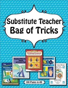 Substitute Teacher Bag of Tricks Mega Coloring Sheet Bundle