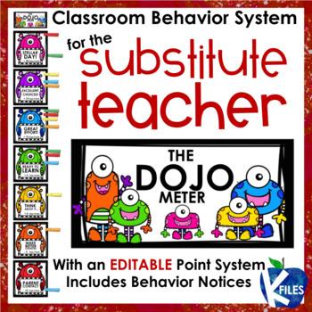 Substitute Teacher Behavior System using Class Dojo: EDITABLE POINT SYSTEM