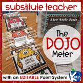 Substitute Teacher Behavior Clip Chart using Class Dojo w/ EDITABLE POINT SYSTEM