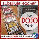 Substitute Teacher Behavior Clip Chart using Class Dojo w/ EDITABLE point system