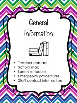 Substitute Teacher Binder Materials (Colorful Chevron Design)