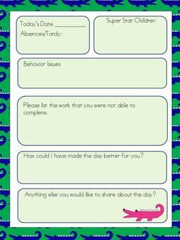 Substitute Teacher Binder- Alligators