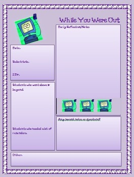 Substitute Teacher Binder----Computer Theme