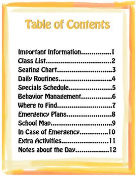 Substitute Teacher Binder Cover Sheets
