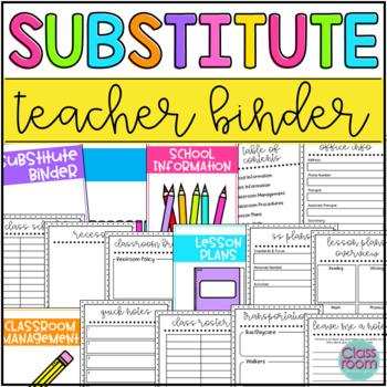 Substitute Teacher Binder {Editable}