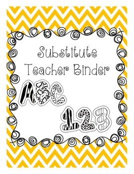 Substitute Teacher Binder - Editable