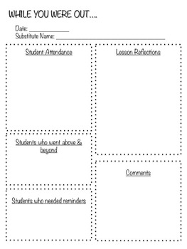 Substitute Teacher Binder - Editable
