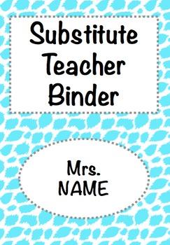 Substitute Teacher Binder Editable