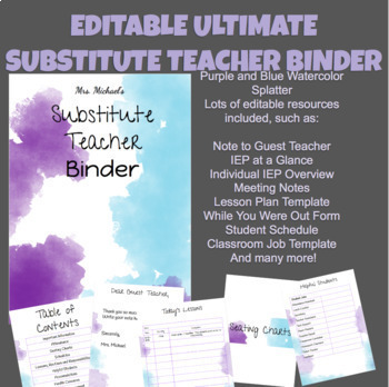 Substitute Teacher Binder Google Slides - Blue and Purple Watercolor Theme