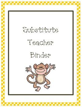 Substitute Teacher Binder---Monkey Theme