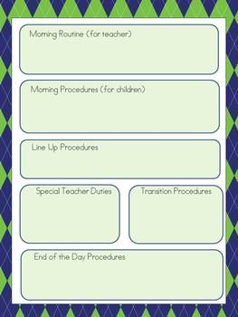 Substitute Teacher Binder- Navy Blue and Green Whales