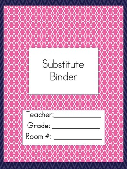 Substitute Teacher Binder- Navy and Hot Pink