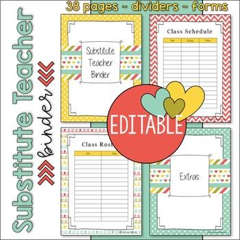 EDITABLE Substitute Teacher Binder / Notebook Resources