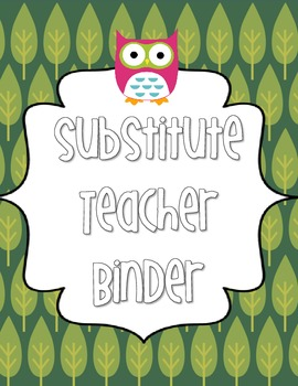 Substitute Teacher Binder Owl Theme