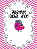 Substitute Teacher Binder Owl Theme