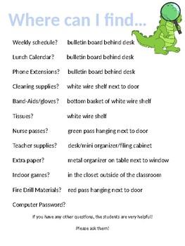 Substitute Teacher Binder Resources