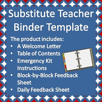 substitute teacher binder template by the social studies showroom. Black Bedroom Furniture Sets. Home Design Ideas