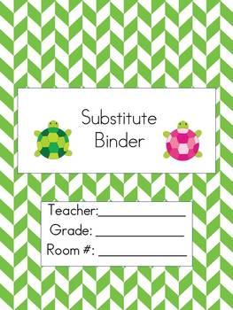 Substitute Teacher Binder- Tiny Turtles