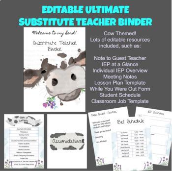 Editable Substitute Teacher Binder - Cow and Purple Flower Themed