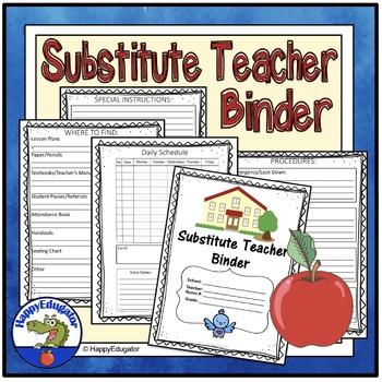 Substitute Teacher Folder or Binder - Ready for Back to School