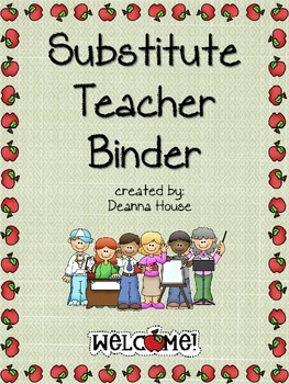 Substitute Teacher Binder with Apple Border