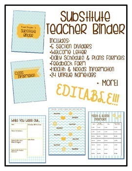 Substitute Teacher Binder with Many Forms - Editable
