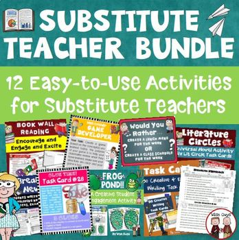 Substitute Teacher Bundle of 12 Ready to Use Activities