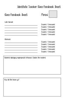Substitute Teacher Class Feedback Sheet